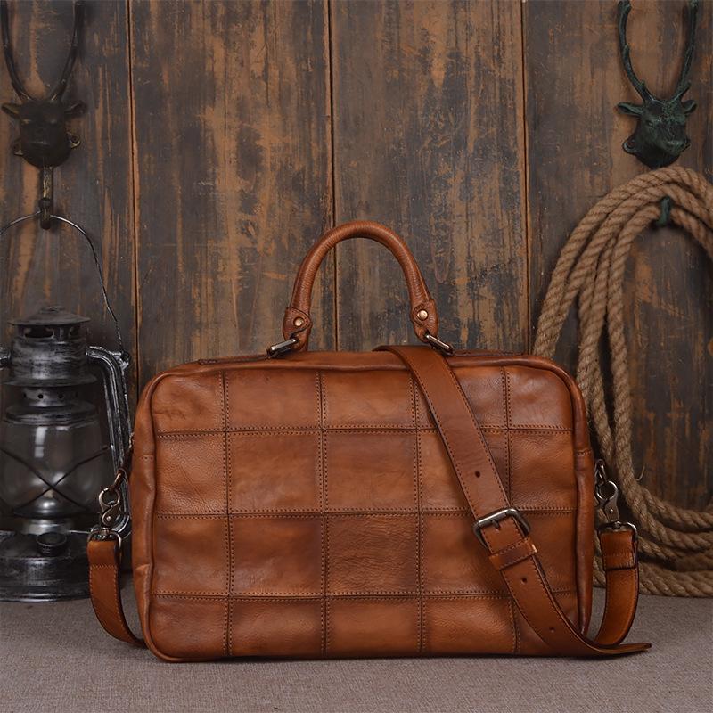Soild Top Grade Handmade Mens Genuine Oil Wax Leather Briefcase Vintage  Style Totes Messenger Shoulder 15 Inch Laptop Bag Case Lawyer Briefcase  Hard ... a6c0c90d57fcc