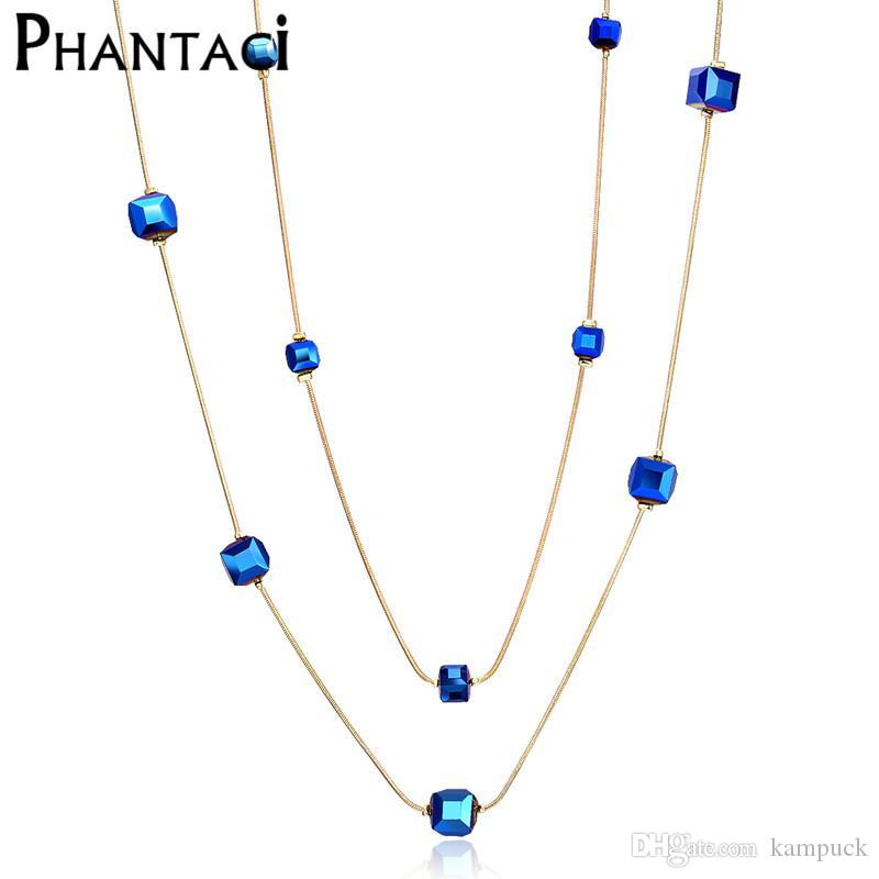 38249dce73 2019 Wholesale 2017 Hot Austria Crystal Double Layer Necklaces & Pendants  Female Gold Color Long Chain Vintage Geometric Bead Necklace Women From  Kampuck, ...