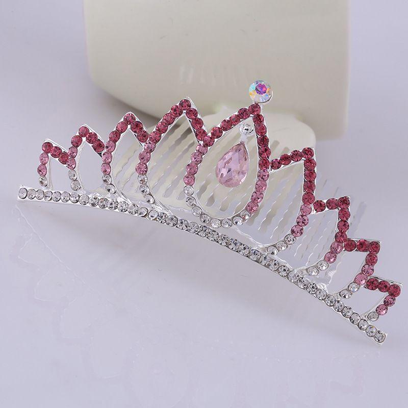 Full Crystal Tiaras for Kids Cosplay Princess Rhinestone Crown Hair Accessories Women Bridal Wedding Headpiece Love Heart Crystal Hair Comb