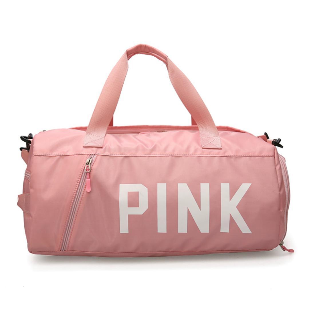 2018 New Love Pink Black Grey Gym Bag for Women Shoulder Sports Bag ... 467a9bdaee326