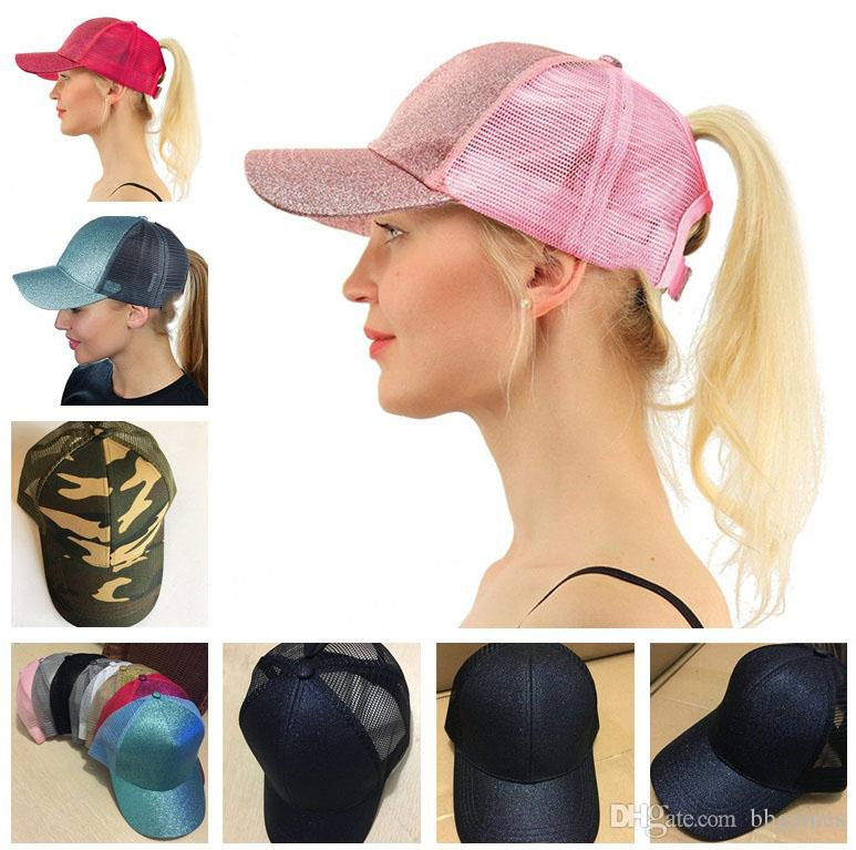 2019 Glitter Ponytail Ball Cap Messy Buns Trucker Ponycaps Plain Baseball  Visor Cap Glitter Ponytail Hats Snapbacks MK305 From Bbgames 1ee01c165c7
