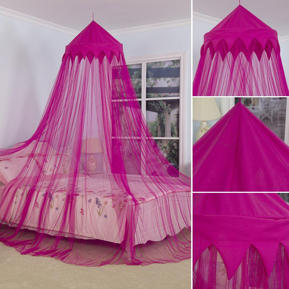 Baby Mosquito Net Dome Crown Bed Canopy Kids Round Princess Play Tent Lace Netting Bedding for Baby Boys Girls Playing Reading