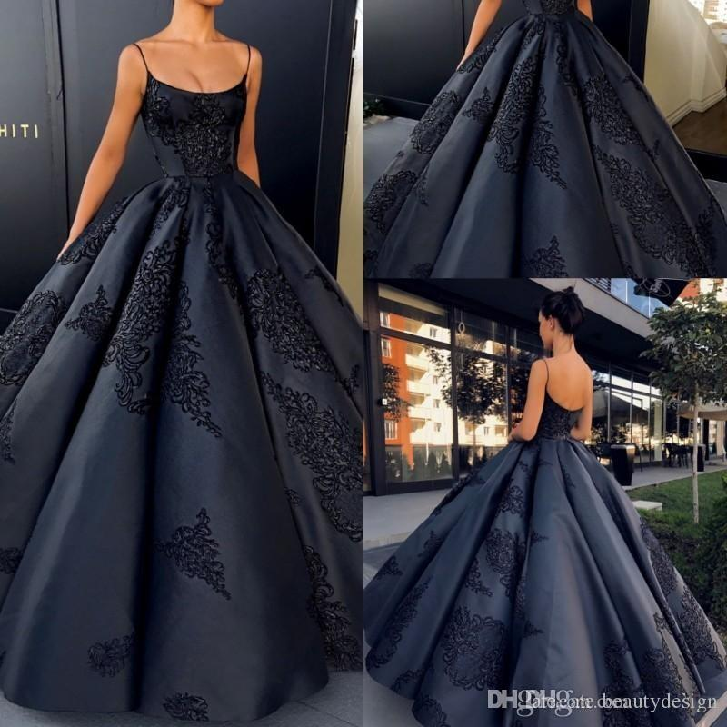 2018 Elegant Navy Blue Backless Evening Dresses Ball Gown Plus Size Lace  Appliques Sexy Prom Dress Long Satin Formal Black Gowns Long Sleeve Evening  Dresses ... 70de0ab4bfe1