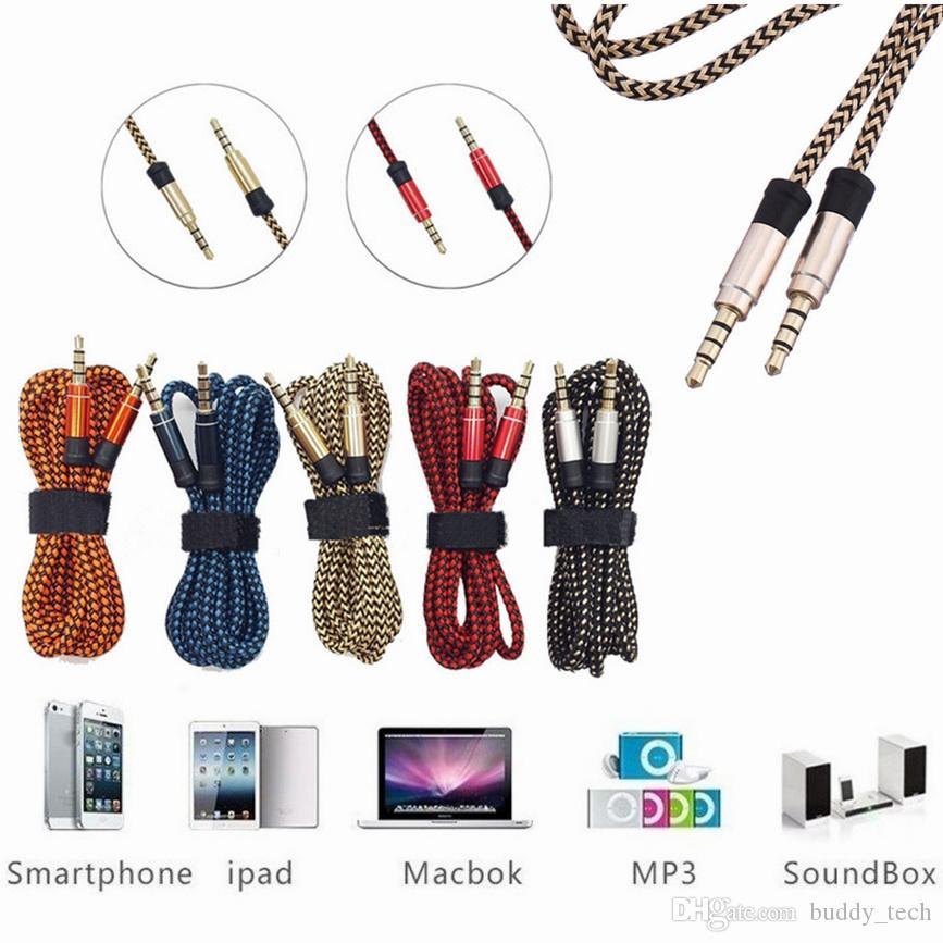 Unbroken Metal adapter Braid Aux Cable 3.5MM macho a macho Car audio extension Cable Universal para teléfono, tablet pc, altavoz 3M 10FT