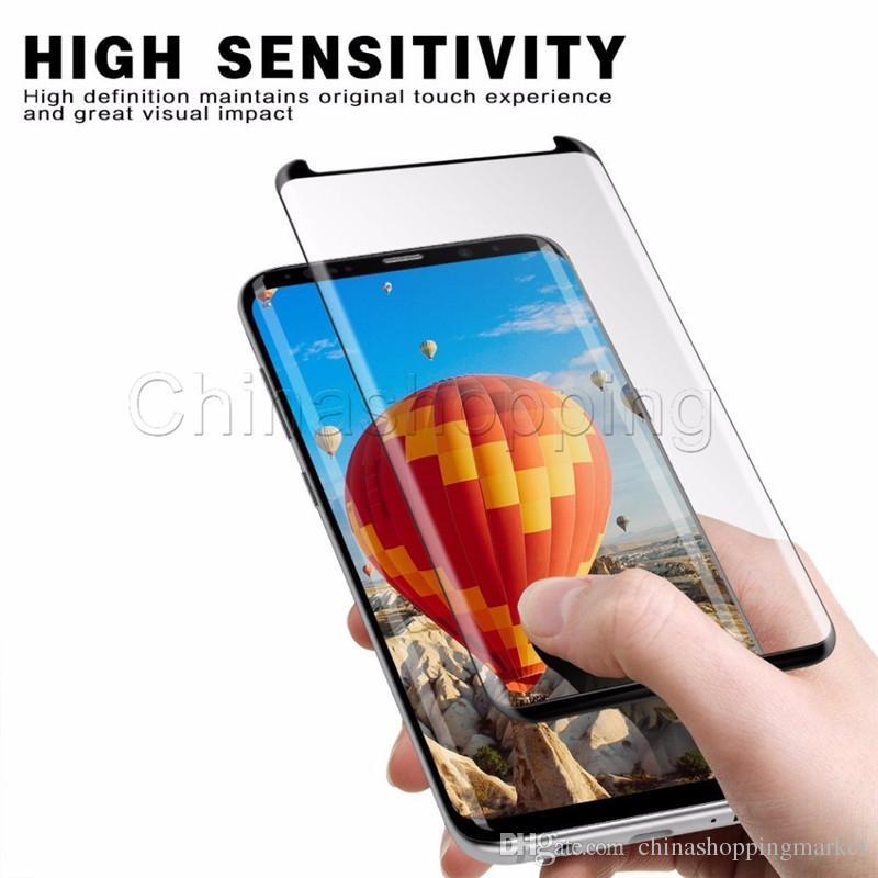 Protection de l'écran 3D incurvée Protection de l'écran Flim Couverture en verre trempé pleine surface pour Samsung S9 S8 Plus S7 Edge avec le paquet de vente au détail