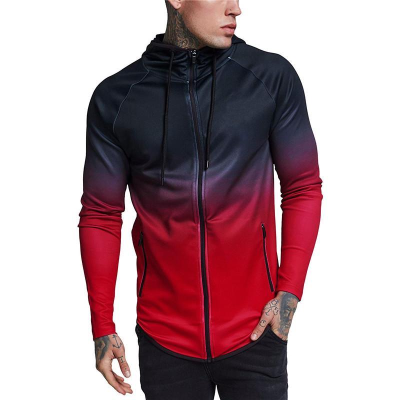 Cappotto sportivo con cappuccio Casual mens stripe Giacche con cappuccio manica stampata Casual moda Cappotti a vento per la caccia vestiti hip hop