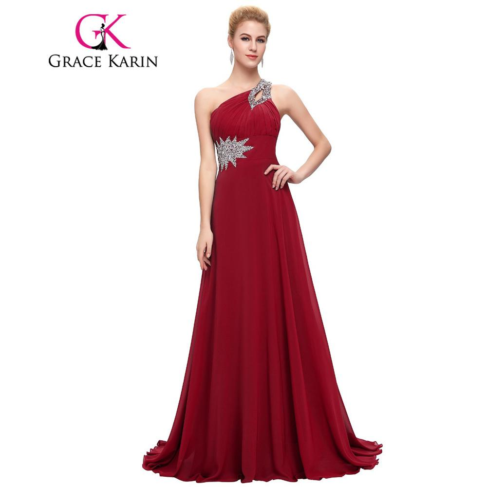 2019 Grace Karin Long Evening Dress Chiffon Formal Prom Dresses One  Shoulder Elegant Evening Gowns Party Dress 2017 Vestidos C18110601 From  Linmei0006 255b001f3406
