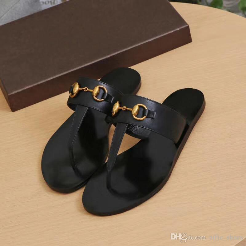 dd304e32e1e Summer Brand Designer Women Flip Flops Slipper Luxury Fashion Genuine  Leather Slides Sandals Metal Chain Ladies Casual Shoes EU36 EU42 W01 Womens  Slippers ...