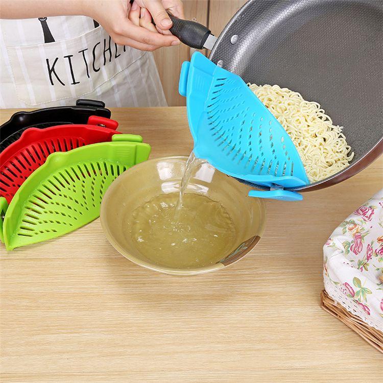 4 Couleurs Cuisine Silicone Passoire Laver Cuisine Alimentaire Propre Clip-On Passoire Passoire Liquide Séparer T2I264