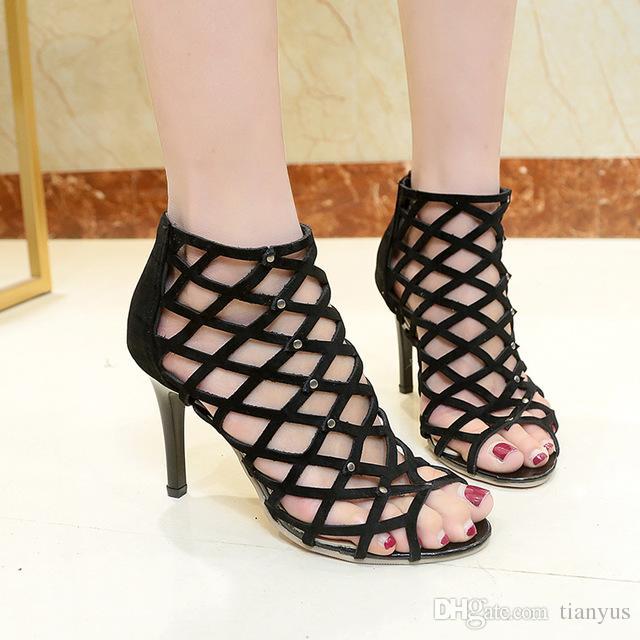 34a6cc85295bde 2018 New Roman Women Pumps Hole Hollow Stiletto Thin High Heel Shoes Summer  Feminine Rivets Decoration Sandals Women Plus Size L 70 Nude Wedges Bridal  Shoes ...