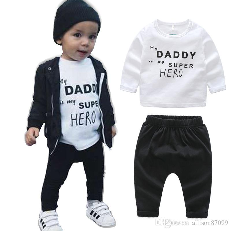 6a46222017 Acquista Ins Baby Boy Vestiti Outfit Cool 2018 Spring Letters Hero Milk  Geometric T Shirt Manica Lunga Tops + Pants 2 Pezzi Set A  27.64 Dal  Allison87099 ...