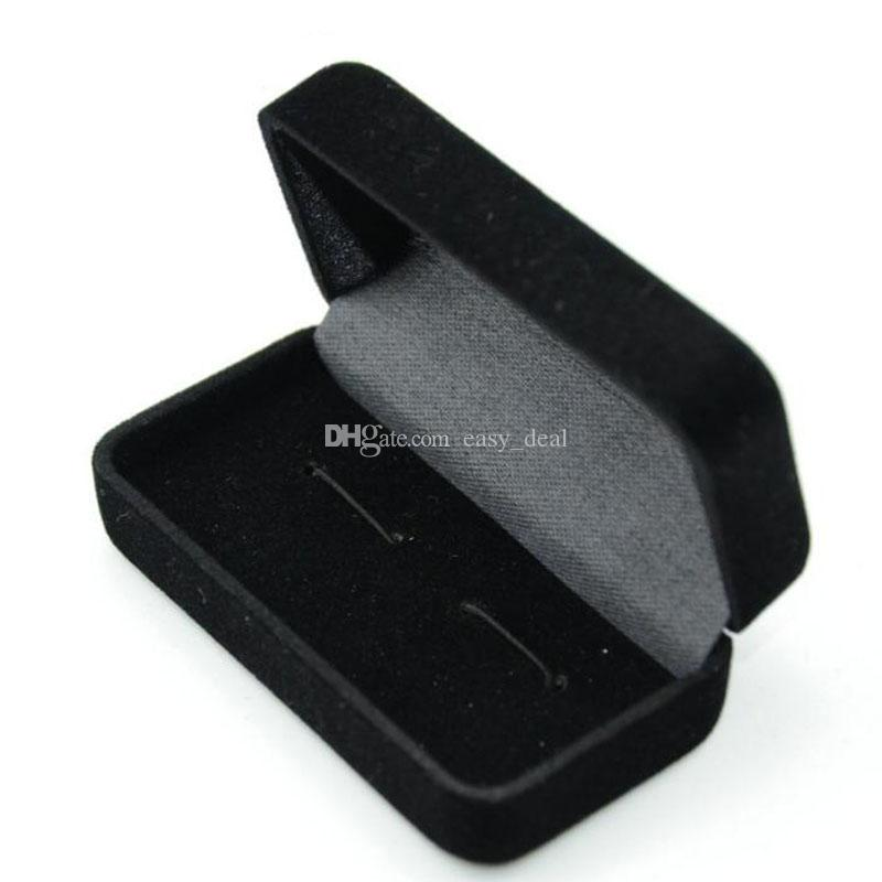 Black Cufflink Storage Box Organizer Case Cuff Link Display Holder For Jewelry Wedding Gift Box QW8880