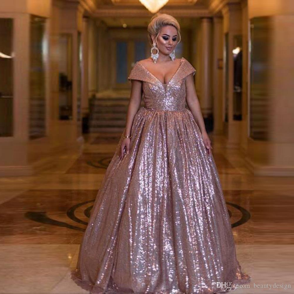1e01dd14002 Sparkly Rose Gold Sequined Prom Dresses Deep V Neck Cap Sleeves Evening  Gowns Plus Size A Line Women Formal Party Dress Custom Made Modest Prom  Dresses Prom ...