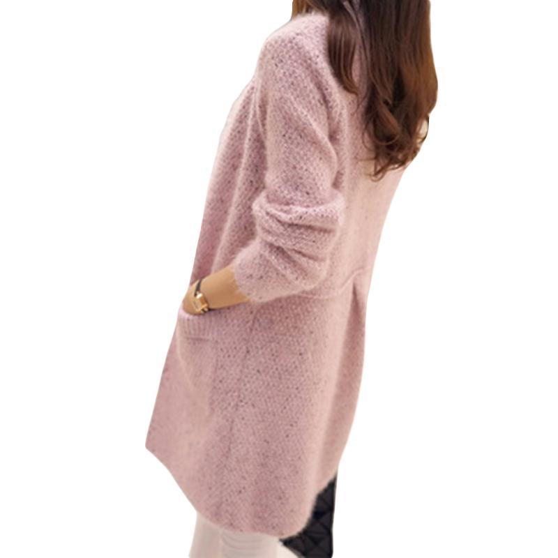 c22892999bac2 2019 2018 Autumn Winter Women Long Sleeve Knitted Cardigan Sweater Women  Thick Warm Mohair Pocket Pull Femme Sweater Feminine Coat S1020 From Rui03,  ...