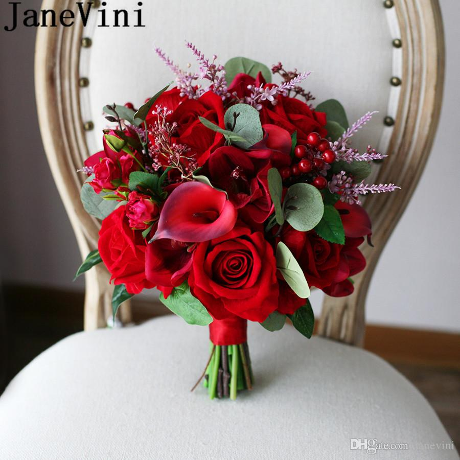 Janevini Vintage Red Roses Bridal Bouquet Artificial Calla Lily ...