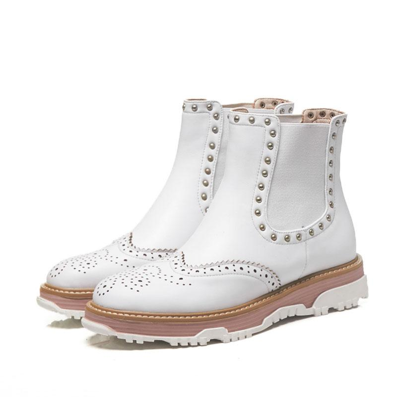058f014412 British Personality Rivet Women's Boots Flat Round Head Short Boots Genuine  Leather Brogue Martin Boots Vintage