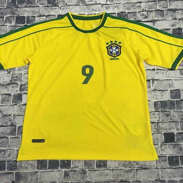 98 Brazil National Team World Cup Soccer Suit Retro Jerseys No. 9 Ronaldo  No. 11 Estela Uniform Online with  21.31 Piece on Y131425 s Store  0269d64c3