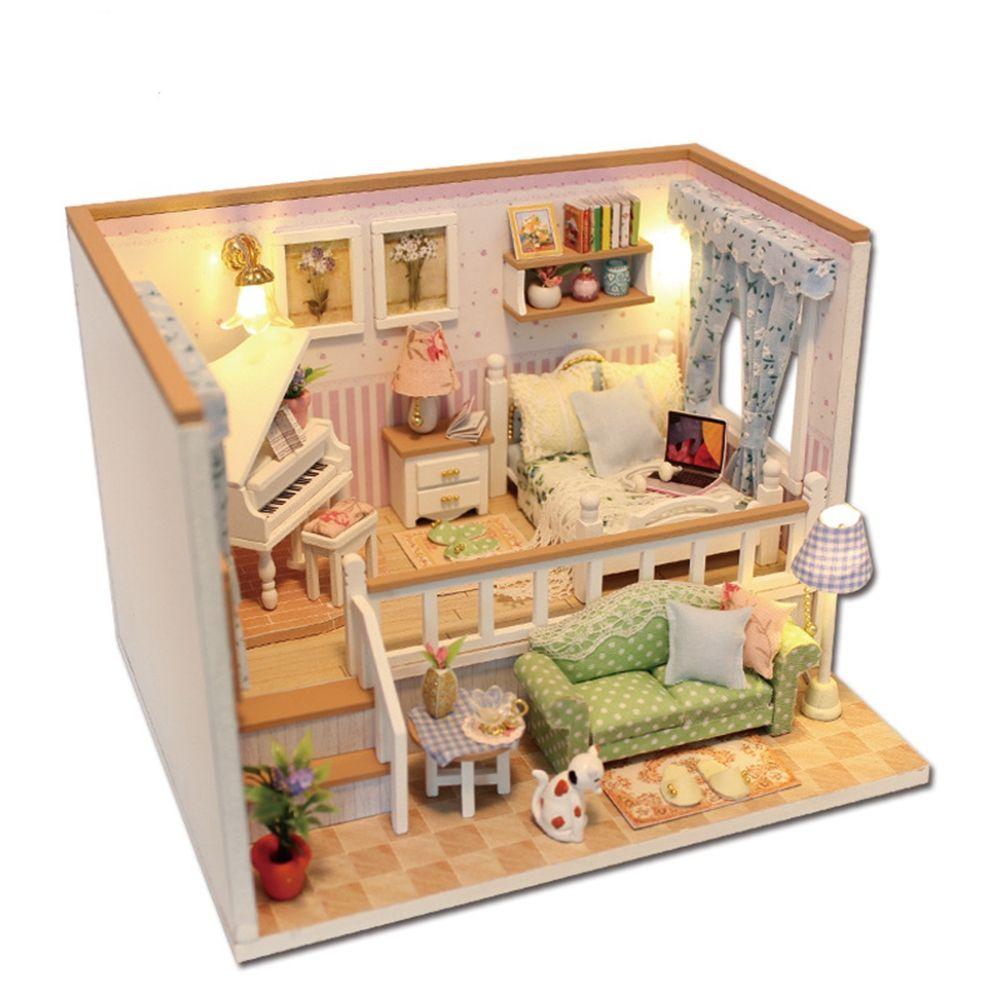 Compre Al Por Mayor Casa De Muñecas En Miniatura Diy Dollhouse Con ...