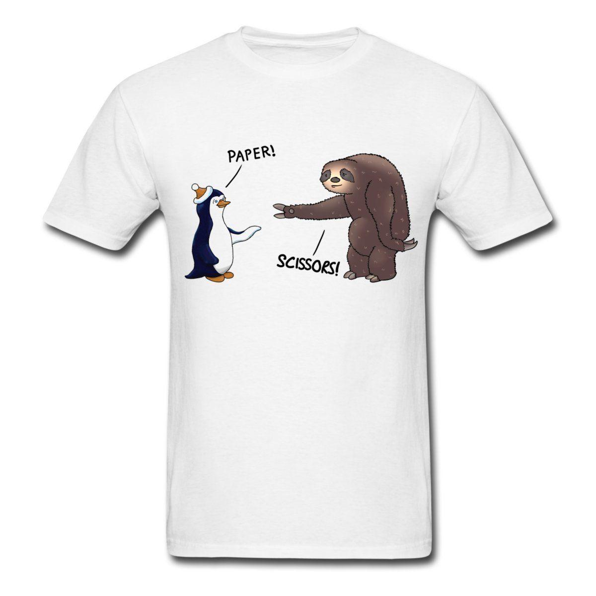 Funny T Shirt Slogans Mens Crew Neck Regular Short Sloth And Penguin Rock Paper Scissors Tee Shirt Fitted Shirts T Shirt Sale From Teespringshirts