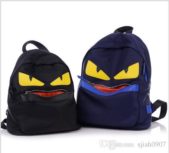 Ünlü Marka Şeytan Gözler Karakter Sırt Çantası Yeni Kore Moda Naylon Küçük Canavar Schoolbag Genç Istitute Rüzgar Sırt Çantası Için