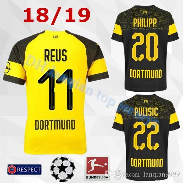 b3988f9ecf551 Compre 2018 2019 Bundesliga FC Borussia Dortmund Jersey Homens De Futebol  11 GOTZE 11 REUS 22 PULÍSTICA 23 KAGAWA 33 WEIGL Camisa De Futebol Uniforme  De ...