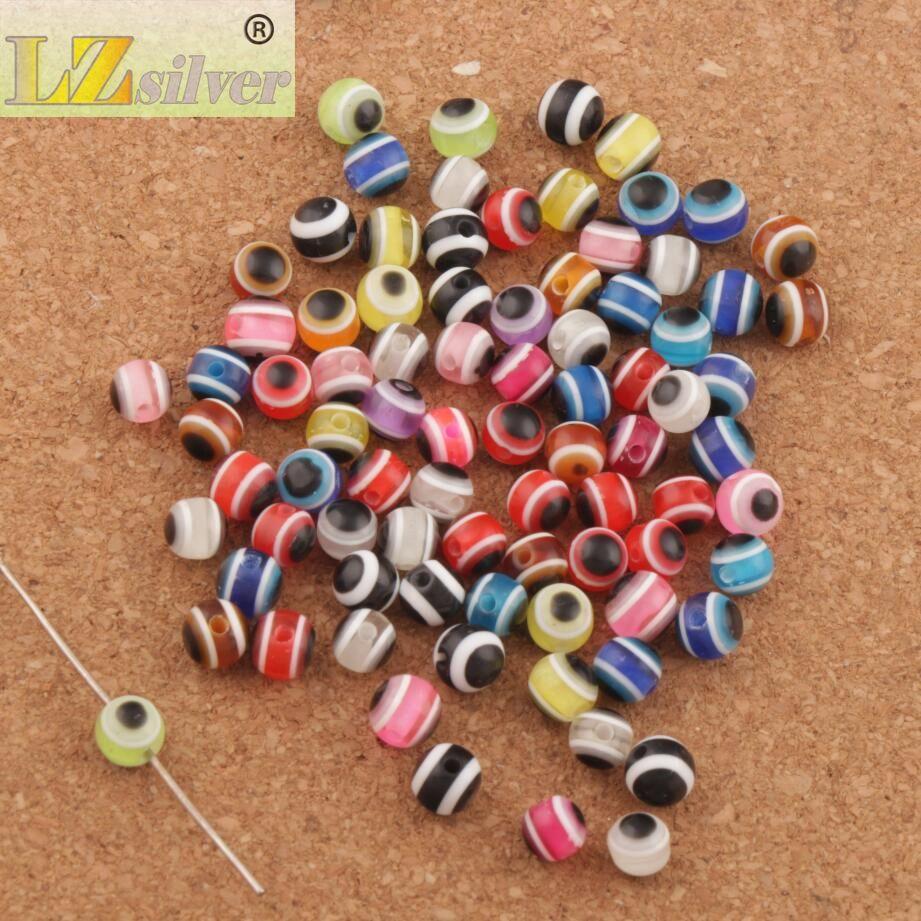 / 6mm Evil Eye Stripe Rose Résine Spacer Beads Multicolore L3041 Loose Beads Sell Bijoux DIY