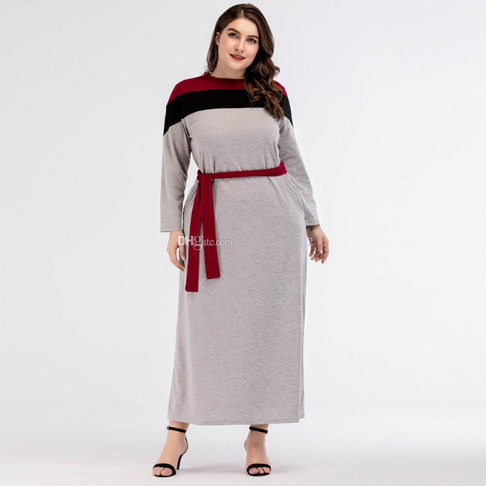 6dc89afcafc5 Acquista Abito Da Sera Con Abito Formale Kimono Abito Con Maniche Lunghe A  Contrasto A Mano Abaya Con Cintura A  24.93 Dal Hello528shop 2 ...