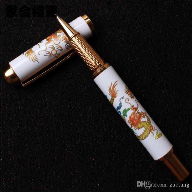 Ceramic Chinese style Dragon Luxury Gel Pen High Quality Blue and White Porcelain Business Gift Gel Ink Pen with Hardcover Box