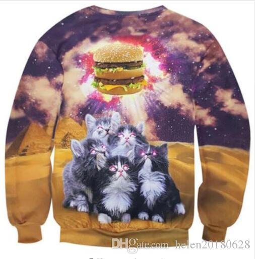 2018 Sondirane Fashion Women Mens Cute Cats Worship Hamburger 3D Print Casual  Sweatshirts Long Sleeve Pullover Tops Hombre Sundaderas From Helen20180628 7d6042c49