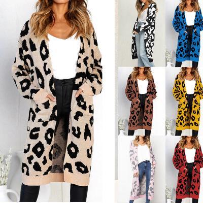 Heißer Verkauf Frauen Winter Leopardenmuster Lose Strickjacke Pullover Oberbekleidung Lässig Gestrickt Langen Mantel Strickjacke Weibliche