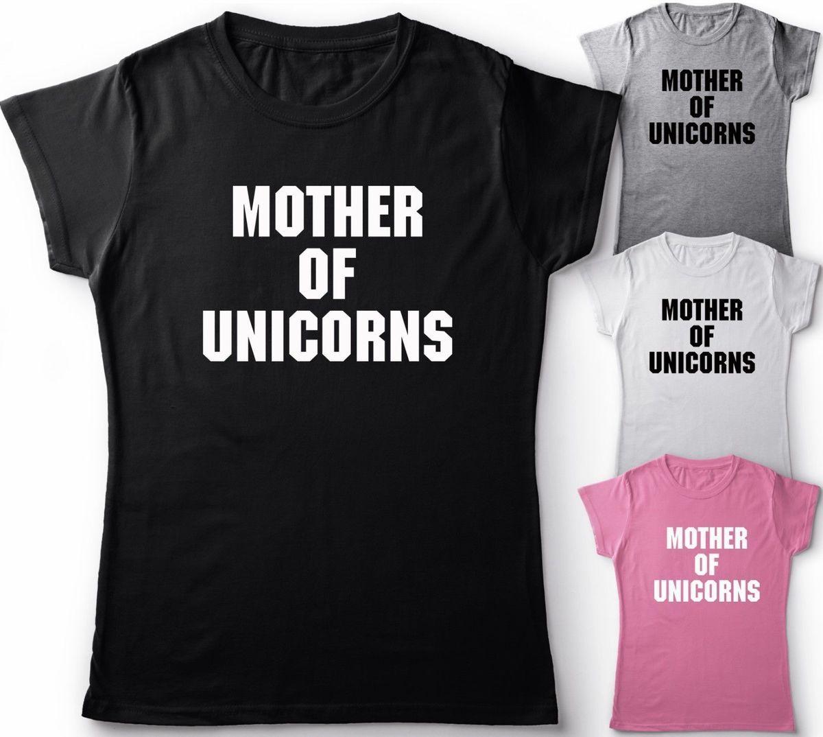 48612dc336 MOTHER OF UNICORNS FUNNY SLOGAN GIFT IDEA T SHIRT UNISEX/LADIES TOP Novelty  Cool Tops Men Short Sleeve Tshirt free shipping