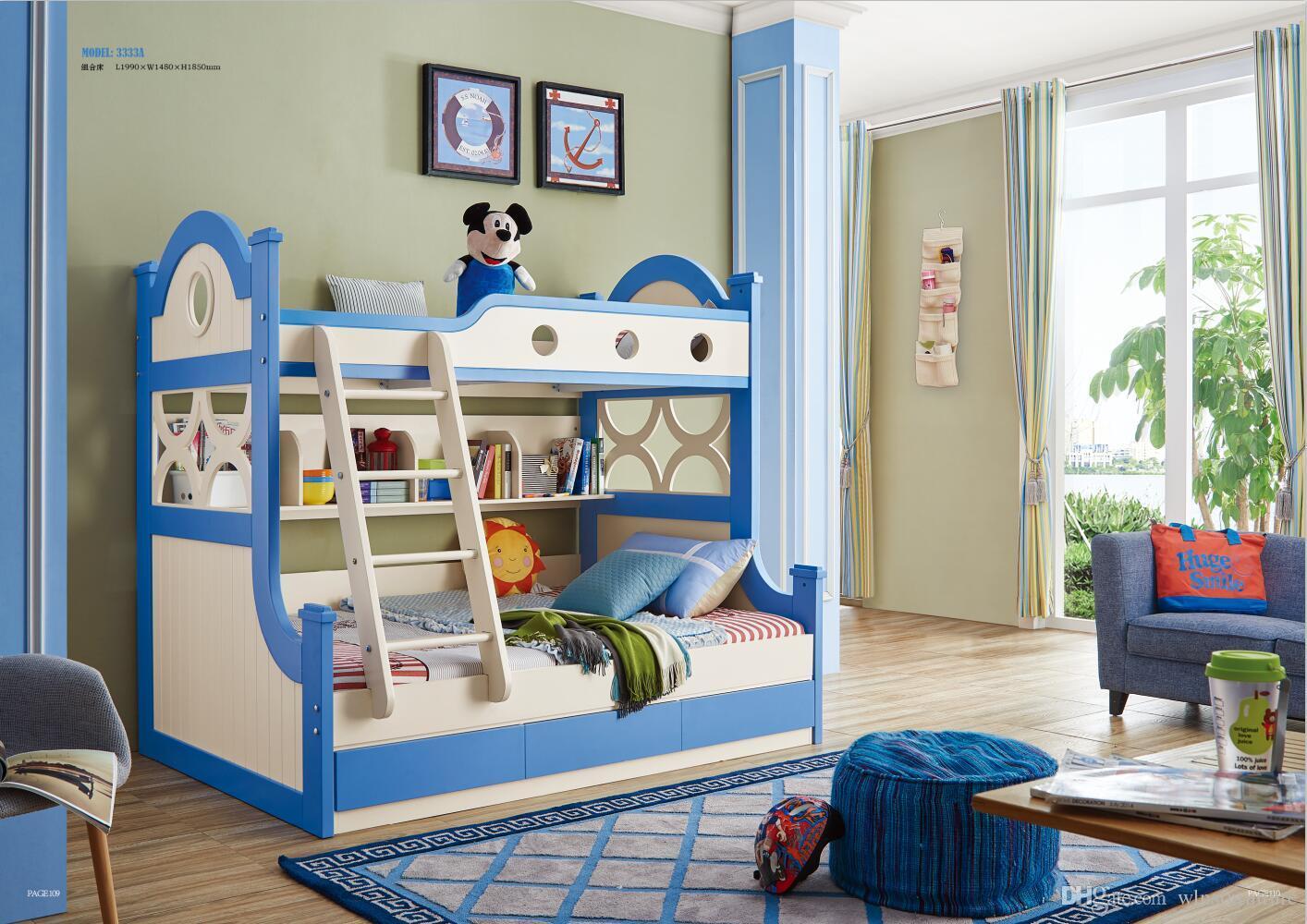 Meubles de chambre à coucher en bois de frêne enfants lit en bois massif  avec armoire de rangement escaliers tiroirs lit superposé