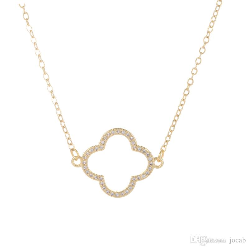 Wholesale Handmade DIY Jewelry Findings Fashion Necklaces Statement Hollow Four Leaf Clover Flower Charms Pendants Collares Colar Accessorie
