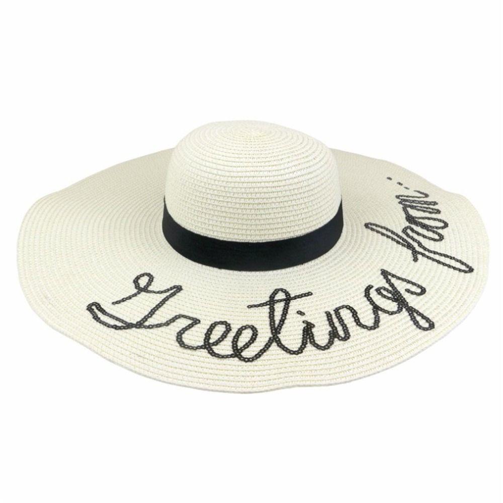 Compre Sombrero De Verano Playa De Las Mujeres 2018 Mujer Plegable Bordado  Cap Big Brim Sombrero De Paja De Verano Sol Señoras Sombreros Chapeu  Feminino A ... 40fc9dea1af4