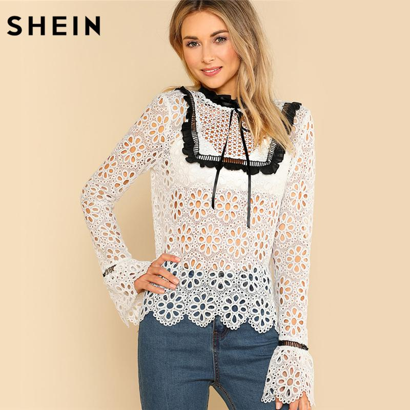 cda8aa29d0d 2019 SHEIN Sexy Womens Tops And Blouses White Long Sleeve Contrast Frill  Detail Eyelet Guipure Lace Top Flounce Sleeve Blouse From Vanilla04