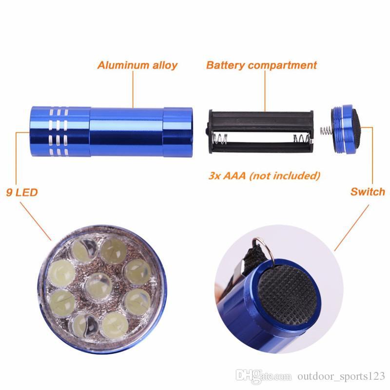 9 LED мини фонарик белый светодиодная лампа переносной маленький карманный вспышка света факел фонарик брелок высокая мощный для пешего туризма кемпинг