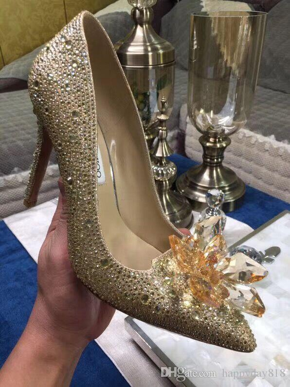 Fashion Women Pumps Gold Strass Rhinestone Crystal Mesh Pointed Toe High  Heels Sandals Shoes Boots 100mm Bride Wedding Shoes Summer Shoes Womens  Loafers ... fb18accbe78e
