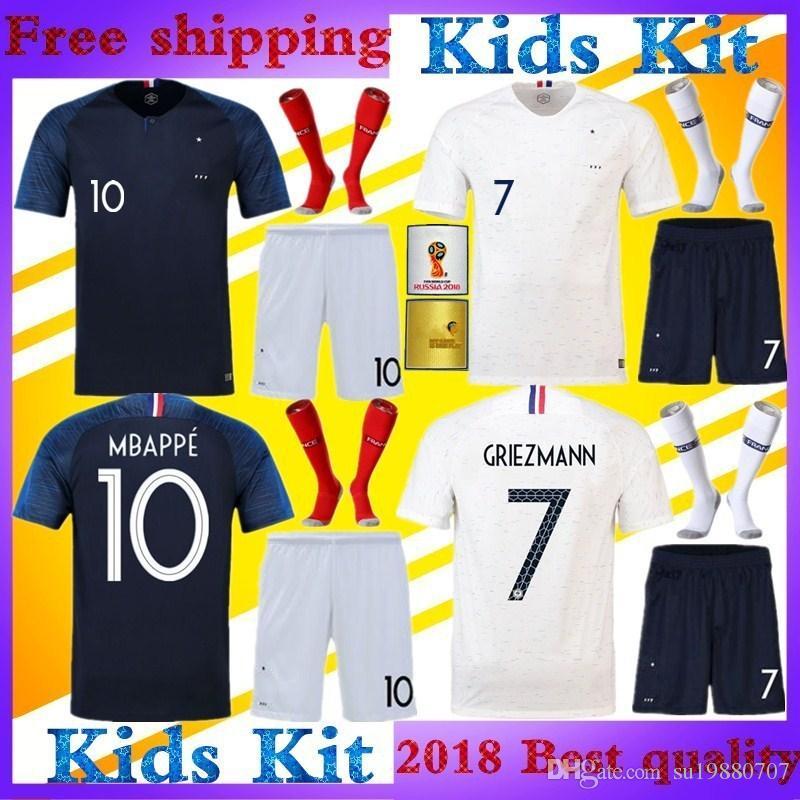 928cb1933cc GRIEZMANN Football Uniform Kids Kit World Cup Home Blue Away White ...