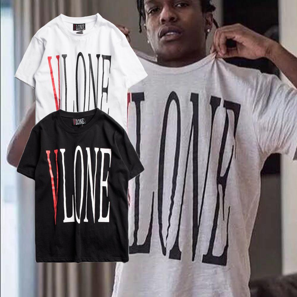 VLONE Camiseta Hombre Más Nuevo Tipo Streetwear Moda Gran V Impreso Manga Corta Camisetas Hip Hop Patinetas Amigos Camiseta mujeres