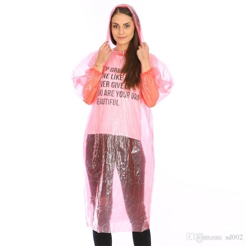 e676af46ea9c One-Time Raincoat Adult Poncho Rainwear Disposable Man Woman Travel  Outdoors Portable PE Transparent Raincoats Pure Color 2 1xs bb
