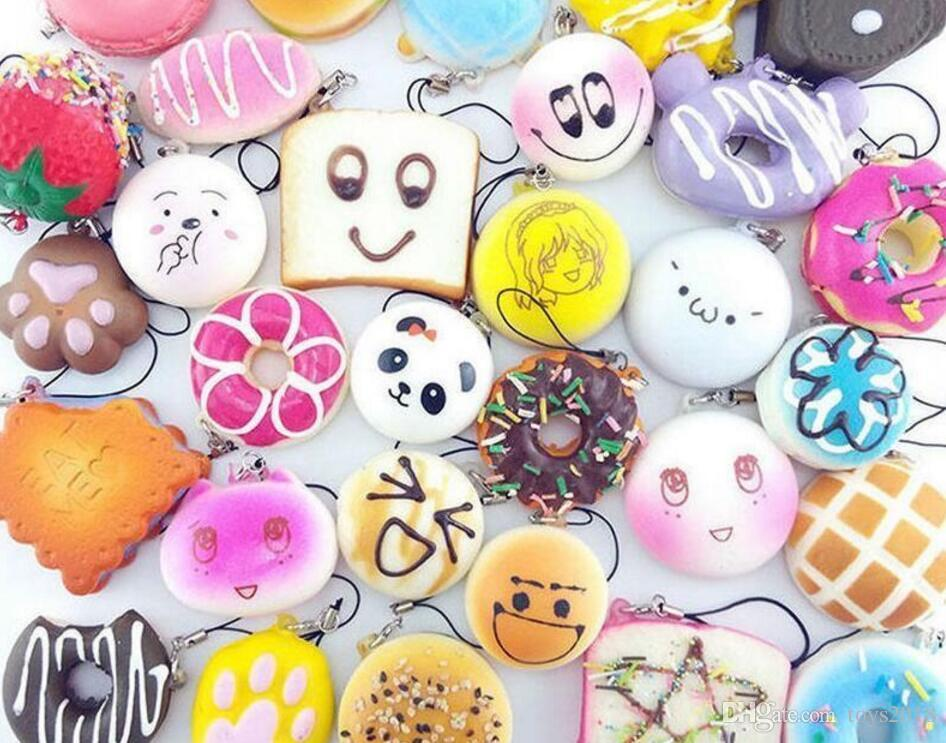 Kawaii Squish fruit Bun Toast Donut Bread for cell phone Bag Charm Straps keychains mixed Squishy slow rising lanyard scented DHL free