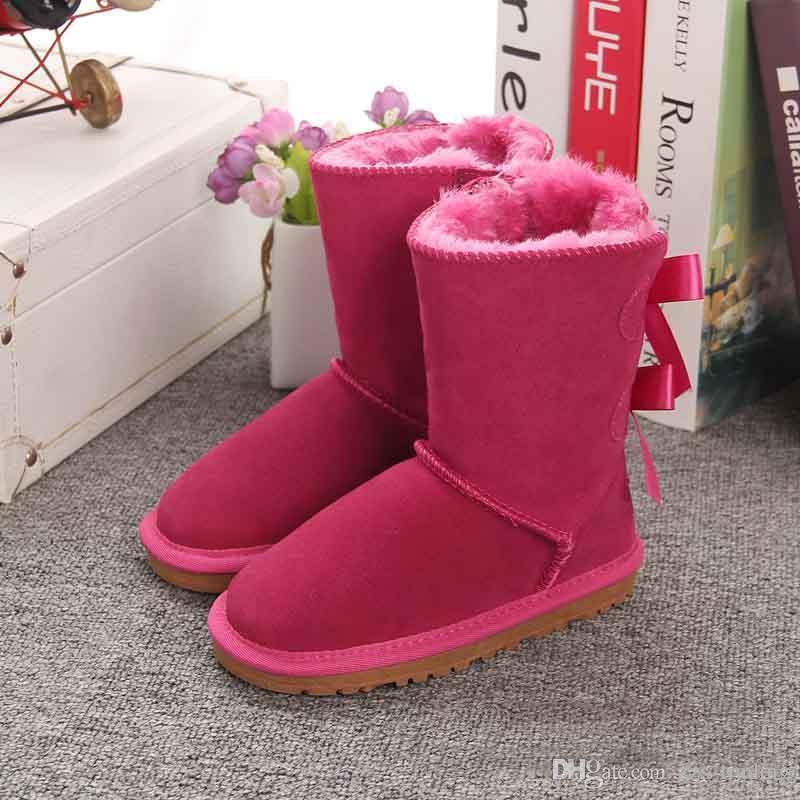 c6c3a9af8 Compre Zapatos Para Niños Botas Para Niños Zapatos De Invierno Botas De  Nieve Para Niños Botas De Nudo De Arco Piel De Felpa Botas De Cuero Genuino  Zapato ...