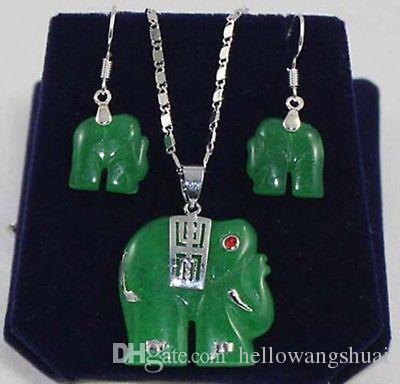 Bella-verde-giada-elefante-gioielli-collana-ciondolo-orecchino-Set
