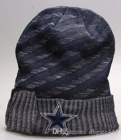 82a0c402 Winter Cowboys Beanie Hat Sideline Cold Weather TD Graphite Sport Knit Hat  Knitted Wool Hat Adult Bonnet Official Warm Reverse Cap Beanie