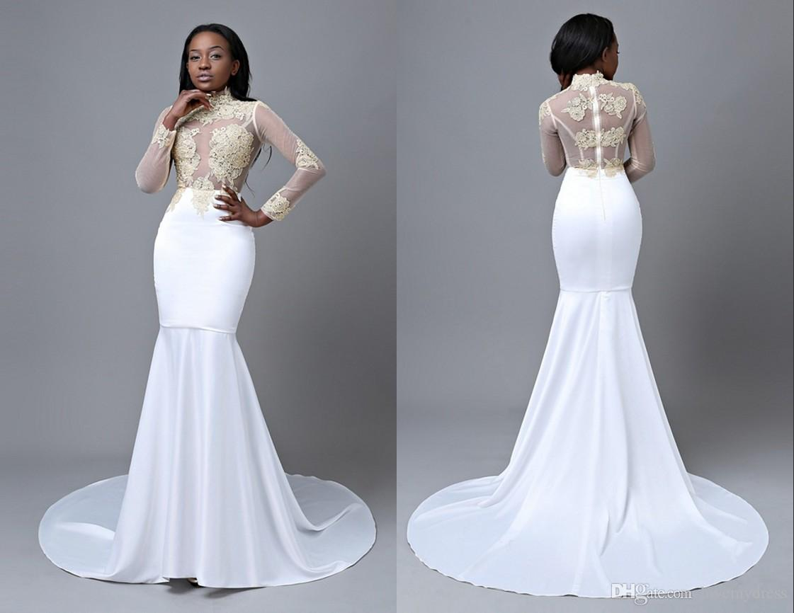 986fb5d55fcd8 Black Girl White Long Prom Dresses Mermaid 2018 Illusion Long Sleeves Satin  Gold Applique African Lace Designer Cheap Evening Formal Dress Elegant Prom  ...