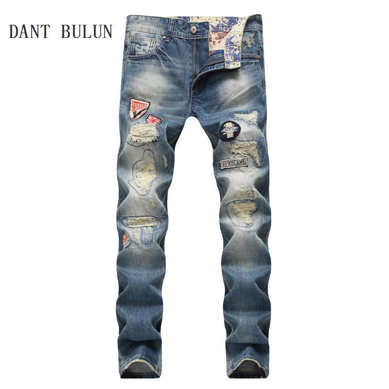 97bfaf71c0 DANT BULUN Men Jeans Ripped Badge Patched Hip Hop Retro Vintage ...