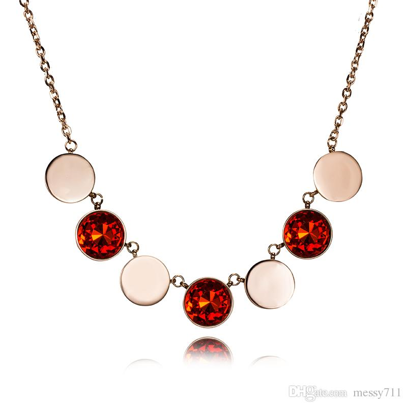 2018 rose gold new model simple colorful round Separated big model copper gem middle long necklace