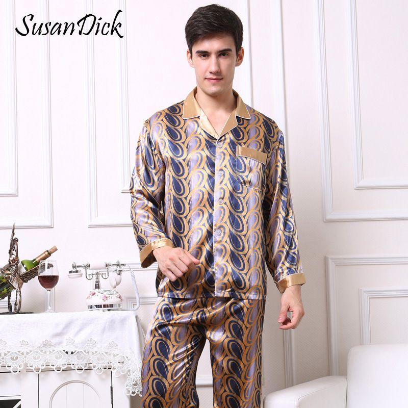 2019 SusanDick Noble Silk Men Pajamas Sleepwear Long Sleeve Print Elegant  Man Nightwear Sleep Clothes Autumn China Satin Pajama Set From Yujiu 827152a3b