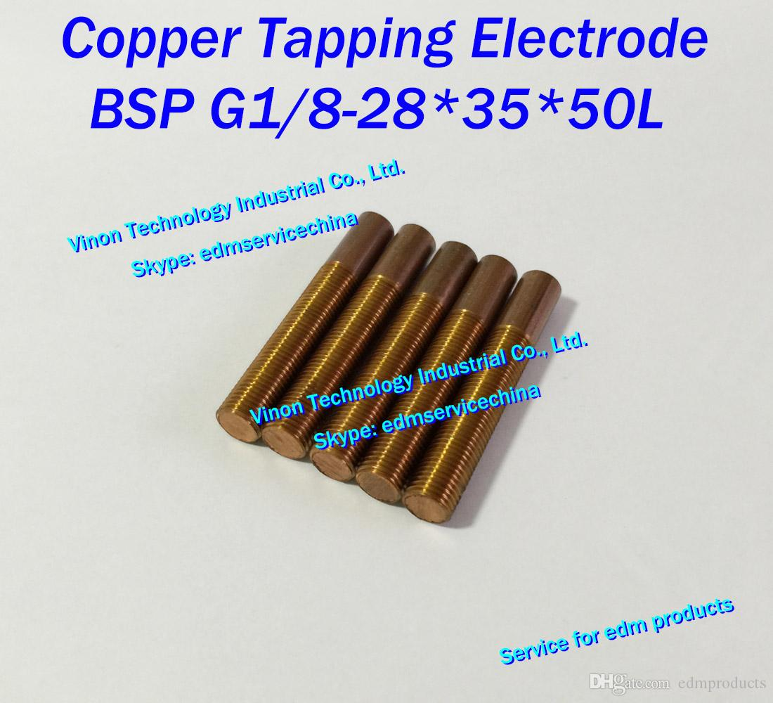 (10pcs/lot) BSP G1/8-28 Copper thread electrode (straight thread type), edm tapping electrode copper, British Pipe Thread Electrode L=50mm