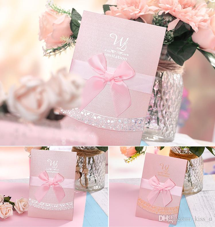 30pcs Carte D Invitation De Mariage Pour Le Mariage Feuille Blanche Vierge Invitation D Anniversaire Rouge Rose Avec Le Modèle Enveloppe D Or Argent